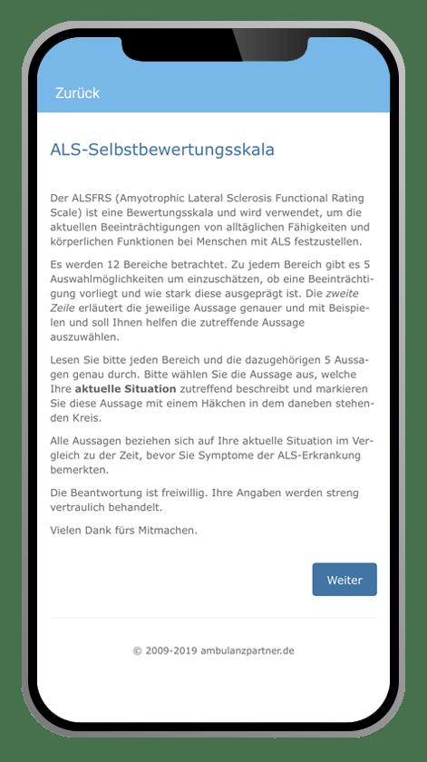 ALS-App Selbstbewertungsskala