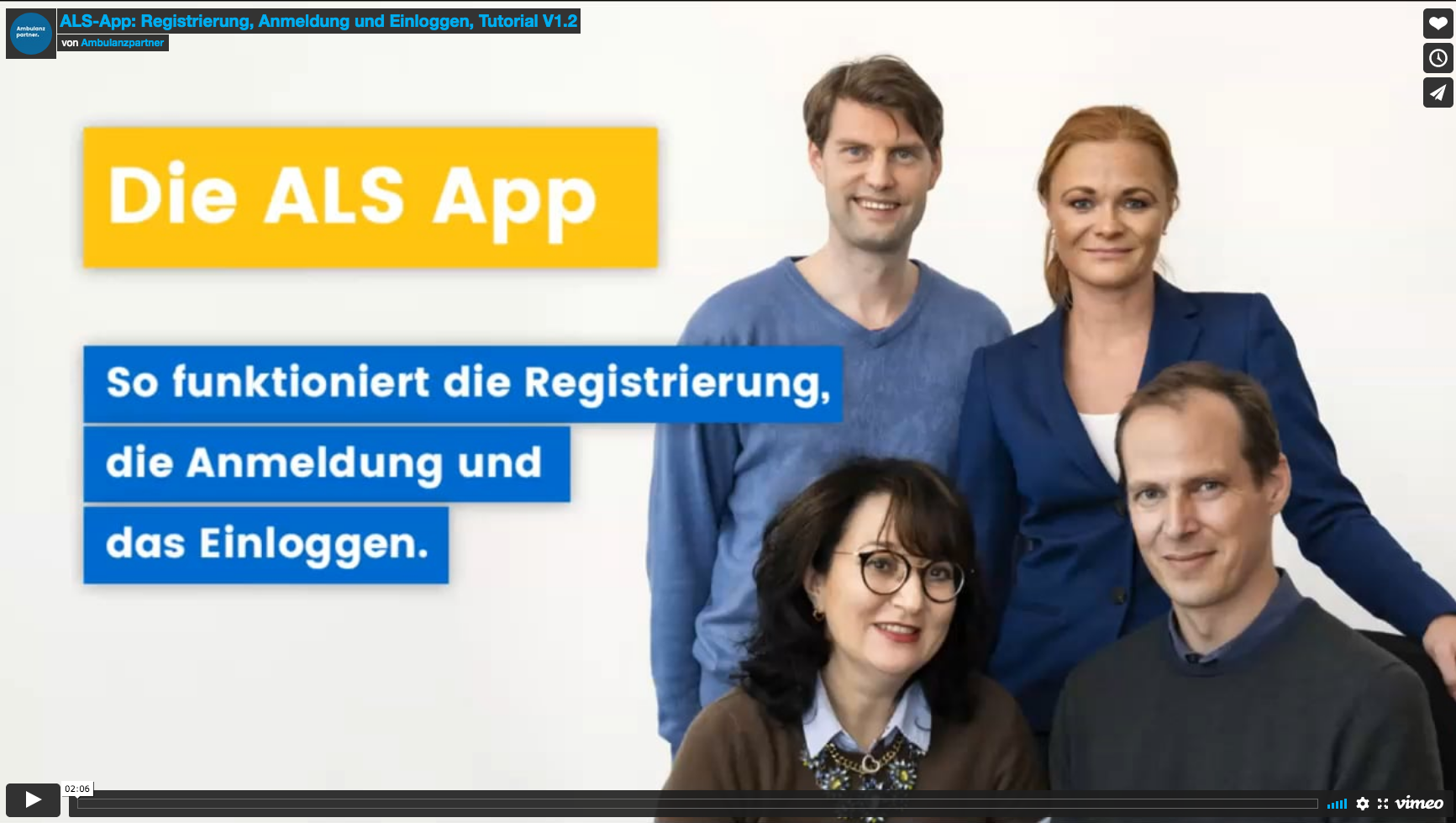 Videotutorial: So funktioniert die Registrierung  und Anmeldung für die ALS-App